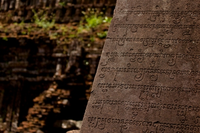 Cham script carving, Mỹ Sơn Holy land
